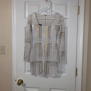 NWOT! Bebe Gold/Silver Metallic Dress